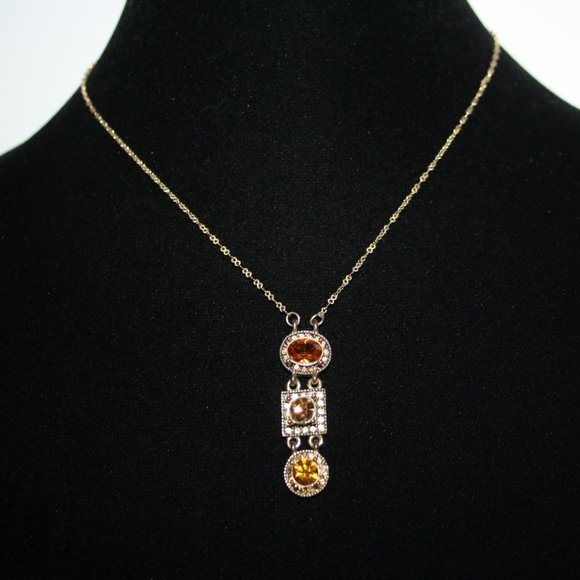 Beautiful gold and citrine drop necklace